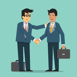 Support and corporate. Businessman giving shaking hands and support friend, partner, subordinate or colleague to join business. Trendy flat design royalty free illustration