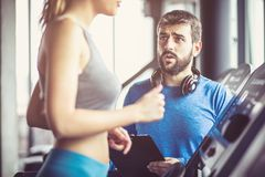 Support. Couple at gym Stock Images