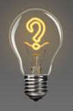 Support creativity. Bulb with glowing question mark inside of it, creativity concept Stock Images