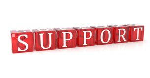 Support Cube text on white background stock illustration