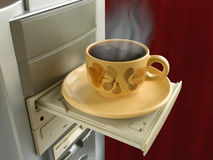 Support for cup of coffee. (open cdrom drive royalty free stock photography