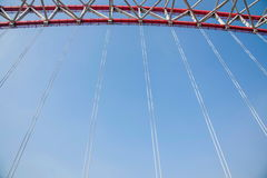 Support of curved steel girder of Chongqing Chaotianmen Yangtze River Bridge Royalty Free Stock Photos