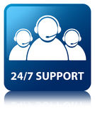 24/7 Support (customer care team icon) blue square button Stock Photo