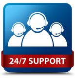 24/7 Support (customer care team icon) blue square button red ri. 24/7 Support (customer care team icon) isolated on blue square button with red ribbon in middle Royalty Free Stock Image