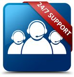 24/7 Support (customer care team icon) blue square button red ri. 24/7 Support (customer care team icon) isolated on blue square button with red ribbon in corner Royalty Free Stock Images