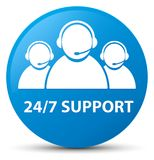 24/7 Support (customer care team icon) cyan blue round button. 24/7 Support (customer care team icon) isolated on cyan blue round button abstract illustration Royalty Free Stock Photos