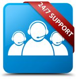 24/7 Support (customer care team icon) cyan blue square button r. 24/7 Support (customer care team icon) isolated on cyan blue square button with red ribbon in Royalty Free Stock Photography