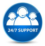 24/7 Support (customer care team icon) elegant blue round button. 24/7 Support (customer care team icon) isolated on elegant blue round button abstract Royalty Free Stock Images