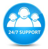 24/7 Support (customer care team icon) elegant cyan blue round b. 24/7 Support (customer care team icon) isolated on elegant cyan blue round button abstract Royalty Free Stock Photo