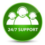 24/7 Support (customer care team icon) elegant green round butto. 24/7 Support (customer care team icon) isolated on elegant green round button abstract Royalty Free Stock Photography