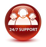 24/7 Support (customer care team icon) glassy brown round button. 24/7 Support (customer care team icon) isolated on glassy brown round button abstract Stock Images