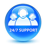 24/7 Support (customer care team icon) glassy cyan blue round bu Stock Photo