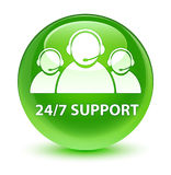 24/7 Support (customer care team icon) glassy green round button Royalty Free Stock Photos