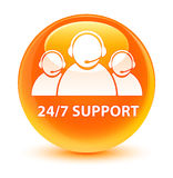 24/7 Support (customer care team icon) glassy orange round butto Royalty Free Stock Images