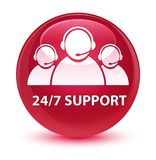 24/7 Support (customer care team icon) glassy pink round button. 24/7 Support (customer care team icon) isolated on glassy pink round button abstract Stock Photos