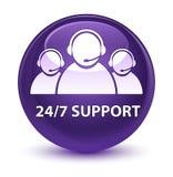 24/7 Support (customer care team icon) glassy purple round butto. 24/7 Support (customer care team icon) isolated on glassy purple round button abstract Stock Photo