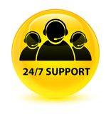 24/7 Support (customer care team icon) glassy yellow round butto. 24/7 Support (customer care team icon) isolated on glassy yellow round button abstract Stock Images