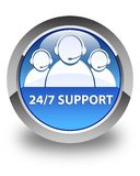 24/7 Support (customer care team icon) glossy blue round button Royalty Free Stock Images