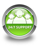 24/7 Support (customer care team icon) glossy green round button Stock Photography
