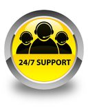 24/7 Support (customer care team icon) glossy yellow round butto. 24/7 Support (customer care team icon) isolated on glossy yellow round button abstract Royalty Free Stock Photos