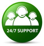 24/7 Support (customer care team icon) green round button. 24/7 Support (customer care team icon) isolated on green round button abstract illustration Stock Images