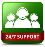 24/7 Support (customer care team icon) green square button red r. 24/7 Support (customer care team icon) isolated on green square button with red ribbon in Royalty Free Stock Photos