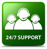 24/7 Support (customer care team icon) green square button. 24/7 Support (customer care team icon) isolated on green square button abstract illustration Royalty Free Stock Photos