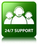 24/7 Support (customer care team icon) green square button. 24/7 Support (customer care team icon) isolated on green square button reflected abstract Royalty Free Stock Image