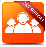 24/7 Support (customer care team icon) orange square button red. 24/7 Support (customer care team icon) isolated on orange square button with red ribbon in Stock Image