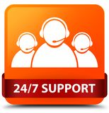 24/7 Support (customer care team icon) orange square button red. 24/7 Support (customer care team icon) isolated on orange square button with red ribbon in Stock Photos