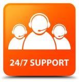 24/7 Support (customer care team icon) orange square button. 24/7 Support (customer care team icon) isolated on orange square button abstract illustration Stock Photography