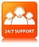 24/7 Support (customer care team icon) orange square button. 24/7 Support (customer care team icon) isolated on orange square button reflected abstract Stock Images