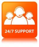 24/7 Support (customer care team icon) orange square button Stock Images