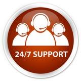 24/7 Support (customer care team icon) premium brown round butto. 24/7 Support (customer care team icon) isolated on premium brown round button abstract Stock Image