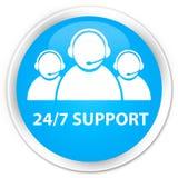 24/7 Support (customer care team icon) premium cyan blue round b. 24/7 Support (customer care team icon) isolated on premium cyan blue round button abstract Royalty Free Stock Photo