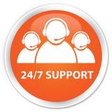 24/7 Support (customer care team icon) premium orange round butt. 24/7 Support (customer care team icon) isolated on premium orange round button abstract Stock Photo