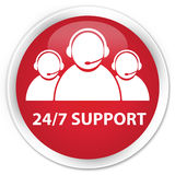24/7 Support (customer care team icon) premium red round button Stock Photography