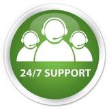 24/7 Support (customer care team icon) premium soft green round. 24/7 Support (customer care team icon) isolated on premium soft green round button abstract Stock Images