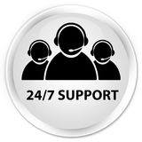24/7 Support (customer care team icon) premium white round butto. 24/7 Support (customer care team icon) isolated on premium white round button abstract Royalty Free Stock Image