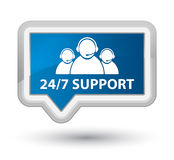 24/7 Support (customer care team icon) prime blue banner button. 24/7 Support (customer care team icon) isolated on prime blue banner button abstract Stock Photography