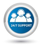 24/7 Support (customer care team icon) prime blue round button. 24/7 Support (customer care team icon) isolated on prime blue round button abstract illustration Royalty Free Stock Photo