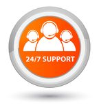 24/7 Support (customer care team icon) prime orange round button. 24/7 Support (customer care team icon)  on prime orange round button abstract illustration Stock Image