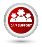 24/7 Support (customer care team icon) prime red round button. 24/7 Support (customer care team icon) isolated on prime red round button abstract illustration Royalty Free Stock Image
