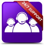 24/7 Support (customer care team icon) purple square button red. 24/7 Support (customer care team icon) isolated on purple square button with red ribbon in Royalty Free Stock Photos
