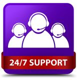 24/7 Support (customer care team icon) purple square button red. 24/7 Support (customer care team icon) isolated on purple square button with red ribbon in Stock Photography