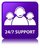 24/7 Support (customer care team icon) purple square button. 24/7 Support (customer care team icon) isolated on purple square button reflected abstract Stock Photography