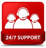 24/7 Support (customer care team icon) red square button red rib. 24/7 Support (customer care team icon)  on red square button with red ribbon in middle abstract Royalty Free Stock Photo