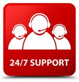 24/7 Support (customer care team icon) red square button. 24/7 Support (customer care team icon) isolated on red square button abstract illustration Royalty Free Stock Image