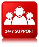 24/7 Support (customer care team icon) red square button. 24/7 Support (customer care team icon) isolated on red square button reflected abstract illustration Stock Photos