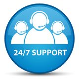24/7 Support (customer care team icon) special cyan blue round b. 24/7 Support (customer care team icon) isolated on special cyan blue round button abstract Royalty Free Stock Photo